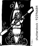 woodcut style image of a inuit... | Shutterstock .eps vector #92596684