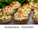 Stuffed baby portabella Mushrooms for healthy eating - stock photo