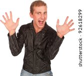 crazy surprised young man show gesture two hand, crazy man in black jacket, isolated on white - stock photo