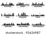 city skyline set | Shutterstock .eps vector #92626987