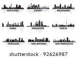 city skyline set | Shutterstock .eps vector #92626987