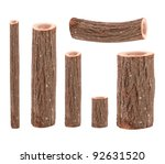 Six Tree Trunks Isolated On...
