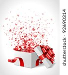 open heart gift and confetti... | Shutterstock .eps vector #92690314