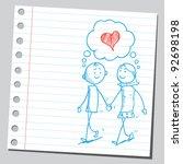couple in love walking | Shutterstock .eps vector #92698198