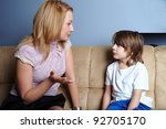angry mother talks to her son ... | Shutterstock . vector #92705170