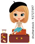 pretty girl sits on a suitcase. ...   Shutterstock . vector #92727397