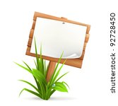 Wooden Sign In Grass  10eps