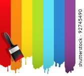 brush with rainbow paint.... | Shutterstock .eps vector #92745490