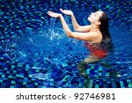 young beautiful woman in pool... | Shutterstock . vector #92746981