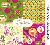 tea and sweets colorful... | Shutterstock .eps vector #92758348