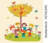 playing children | Shutterstock .eps vector #92761345