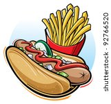 hot dog and fries | Shutterstock .eps vector #92766520