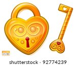 golden lock in the shape of...