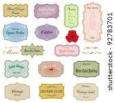 element vintage label set vector | Shutterstock .eps vector #92783701