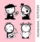 set of valentine in love funny... | Shutterstock .eps vector #92791534