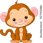 Stock vector fun zoo illustration of cute monkey 92792086