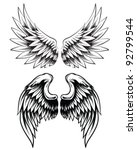 hand drawn wing set | Shutterstock .eps vector #92799544