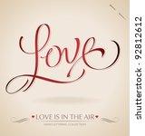 'love' hand lettering   hand... | Shutterstock .eps vector #92812612
