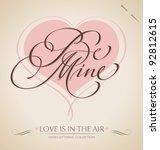 'be mine' hand lettering   hand ... | Shutterstock .eps vector #92812615