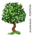 An illustration of a stylised tree with grass around its roots - stock vector