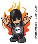 rock and roll character | Shutterstock .eps vector #92849029