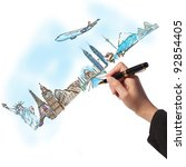 drawing the dream travel around ... | Shutterstock . vector #92854405