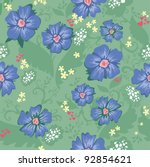 seamless texture with flowers... | Shutterstock .eps vector #92854621
