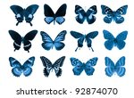 butterfly collection set for design - stock photo