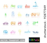transport icons in drawn style. | Shutterstock .eps vector #92877349