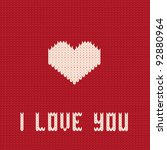 knitted heart. valentines day... | Shutterstock .eps vector #92880964