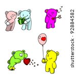 Fantasy color bears in various valentines activities - stock photo