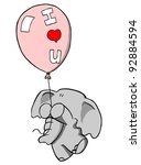 Elephant holding on to balloon th Love U - stock photo