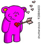 purple bear in love with arrow in chest - stock photo