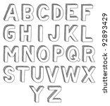 hand drawn vector abc  font  3d ... | Shutterstock .eps vector #92893429