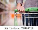 closeup of female shopper with...