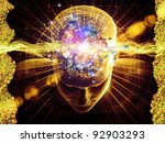 Collage of human head, molecules and various abstract elements on the subject of modern science, chemistry, physics, human and artificial minds - stock photo