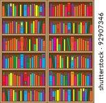 a large  double case bookshelf  ... | Shutterstock .eps vector #92907346