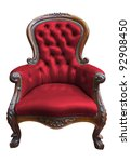 vintage red leather armchair on ... | Shutterstock . vector #92908450