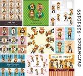 cartoon cowboy card | Shutterstock .eps vector #92910199