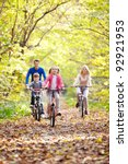 family on bikes in the park | Shutterstock . vector #92921953