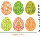 set of easter eggs isolated on... | Shutterstock .eps vector #92953207