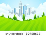 green landscape with trees and... | Shutterstock .eps vector #92968633