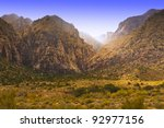 View of valley with magic light. Nevada, USA - stock photo