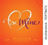 'be mine' hand lettering  ... | Shutterstock .eps vector #92978671