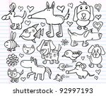 notebook doodle sketch animal... | Shutterstock .eps vector #92997193