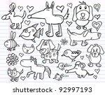 notebook doodle sketch animal... | Shutterstock .eps vector #92997193
