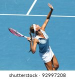 Small photo of MELBOURNE - JANUARY 17: Gisela Dulko of Argentina in her first round loss to Maria Sharapova of Russia at the 2012 Australian Open on January 17, 2012 in Melbourne, Australia.