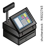 A touchscreen point of sale cash register with built-in card swipe slot cash drawer.