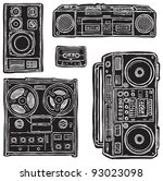 set of black white vector tape... | Shutterstock .eps vector #93023098