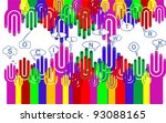 happy group of finger smileys...   Shutterstock .eps vector #93088165